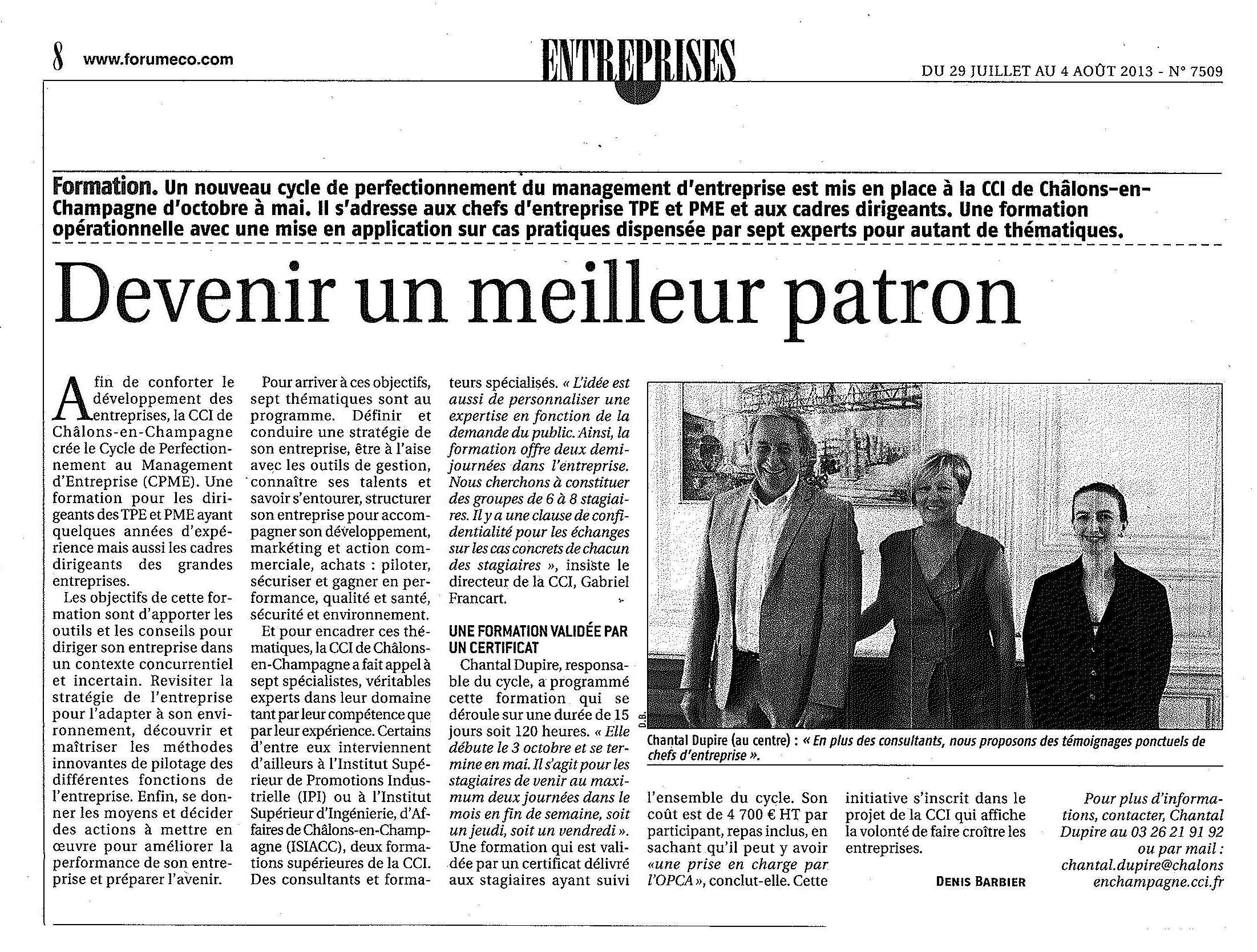 Cycle de Perfectionnement au Management d'Entreprise (CPME) Chantal Dupire (CCI de Châlons) entourée de JF Ledun (JFL Consultant) et Virginie Girault (Kresko Solutions).