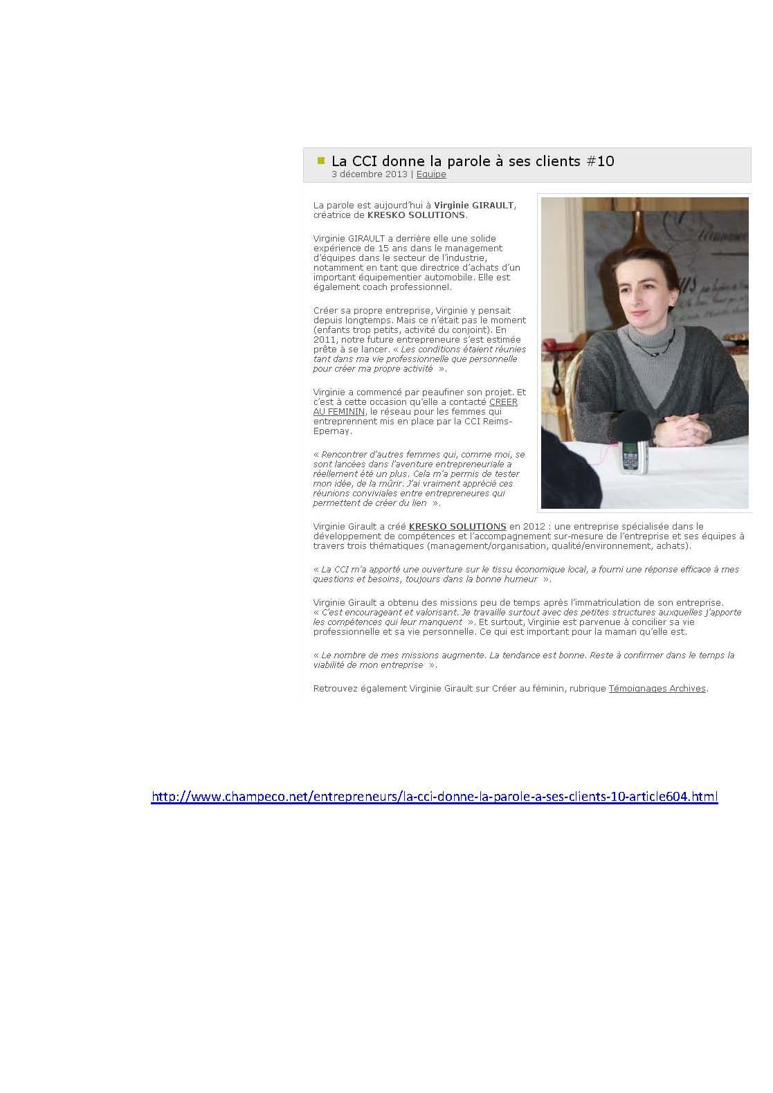 La CCI Reims Epernay donne la parole à ses clients Kresko Solutions