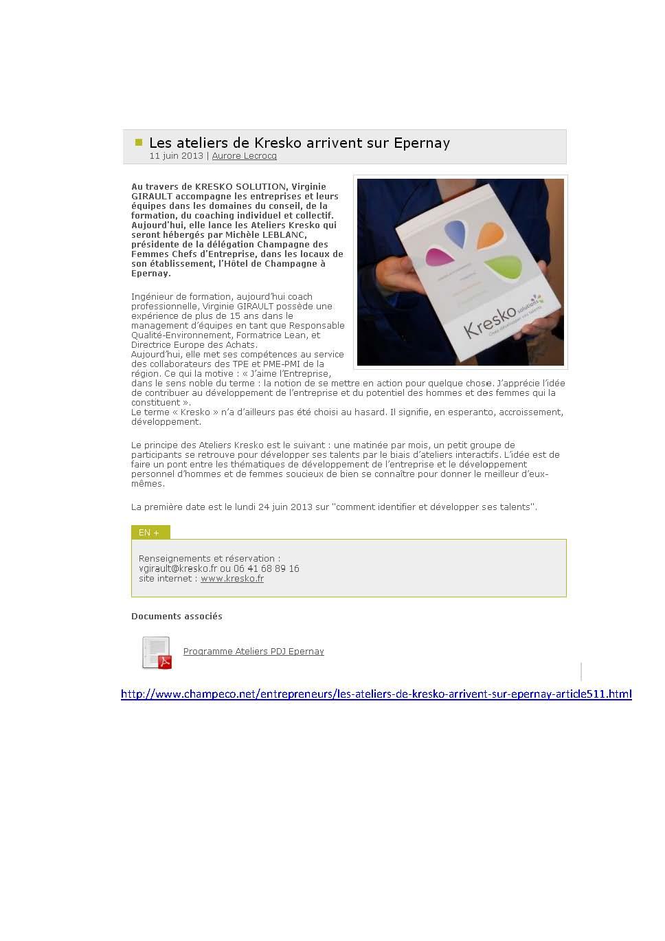 Les Ateliers de Kresko - Blog ChampEco - Juin 2013